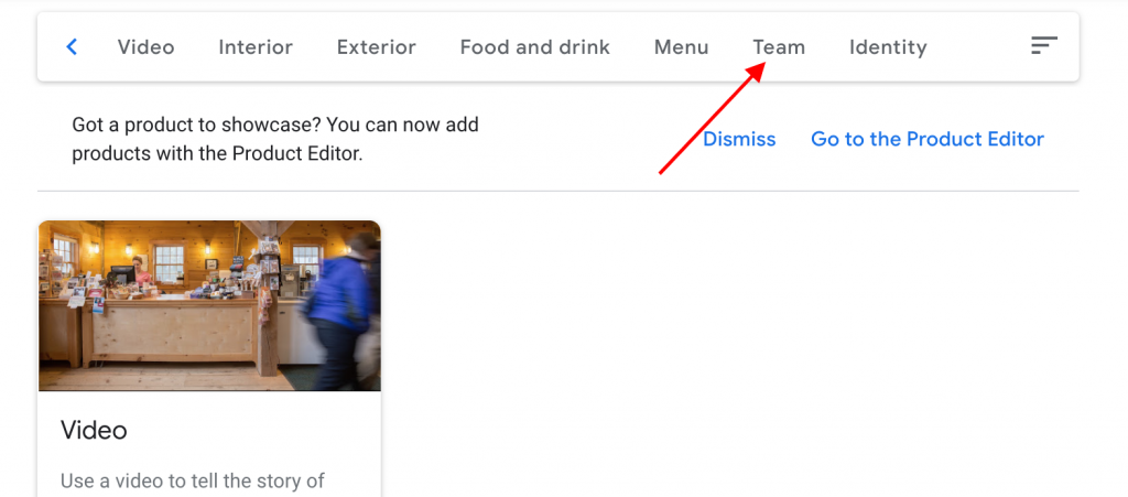 Google my Business team section