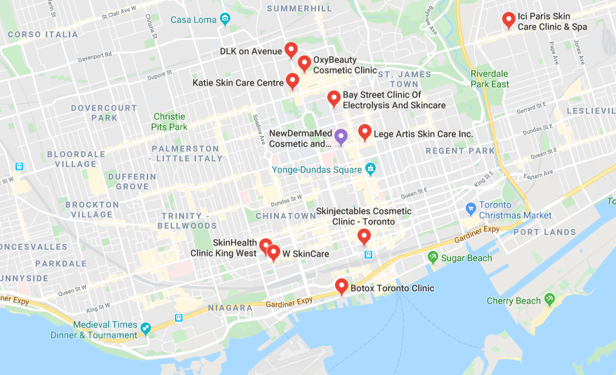 Google maps for skin care clinics in toronto