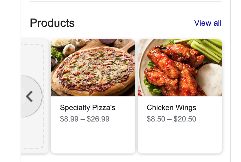 Products for Google my Business