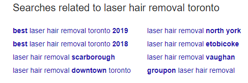 Searches related to laser hair removal toronto