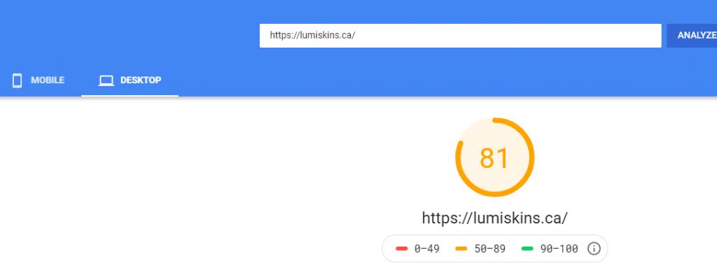 desktop page speed homepage