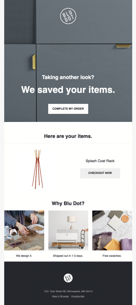 Cart abandoned email example