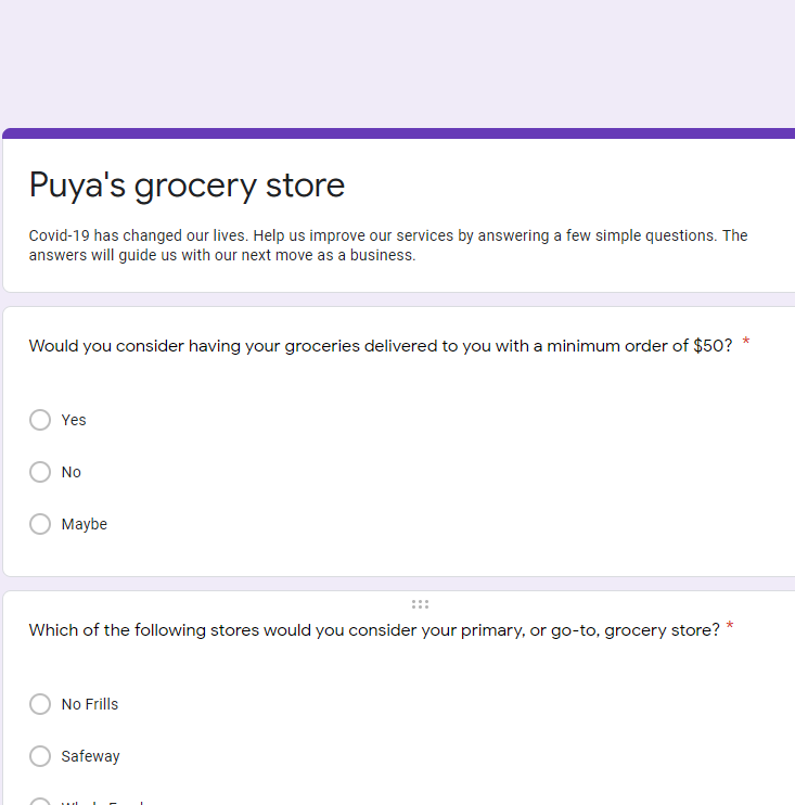 Google Form grocery store questions