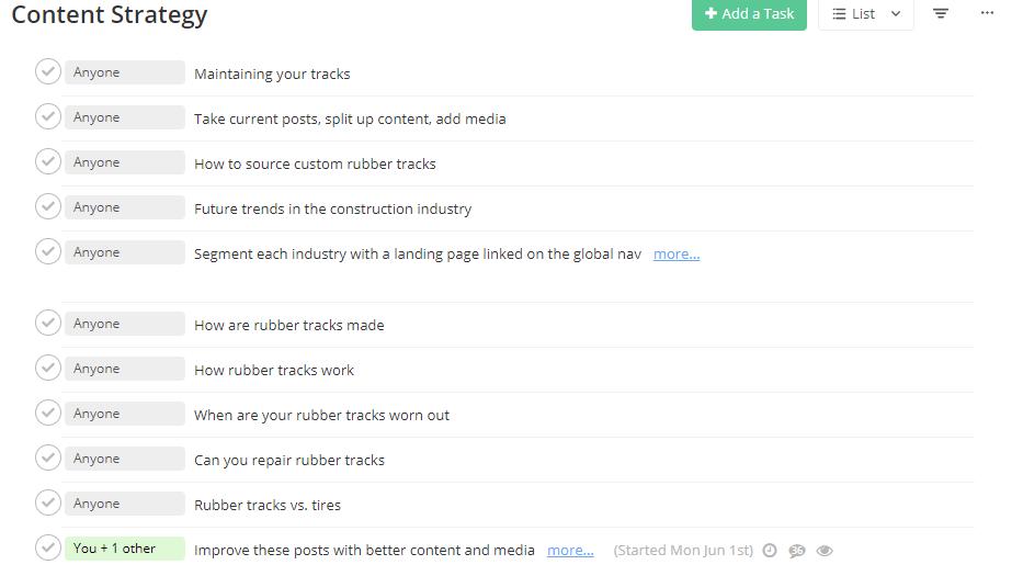 Team work content calendar