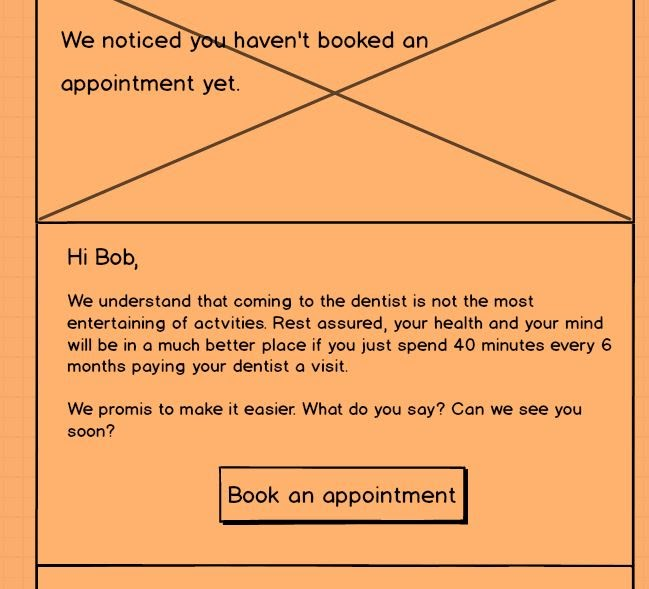Come back email wireframe for dentist