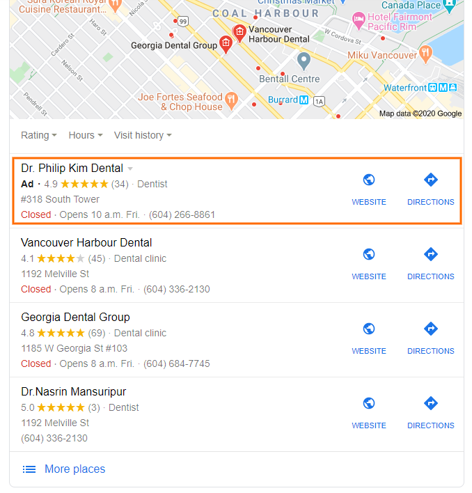 Google map pack ad example