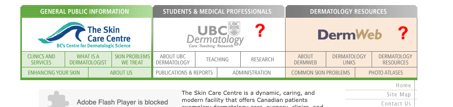 Skin Care Centre websites