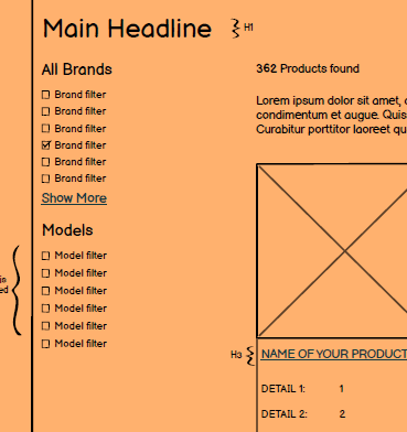 Product category template wireframe