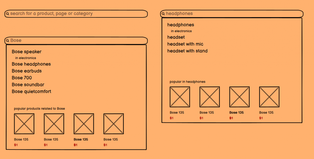 Different search wireframes